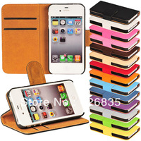 for iphone 4s wallet leather case,for iphone 4s wallet case cover with cards holder&money slot 200pcs/lot 14colors free ship