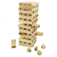 54 Blocks+4 Dices Wooden Tumbling Stacking Jenga Tower Children Game Freeshipping&Wholesale