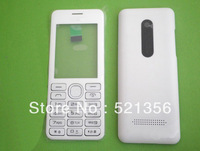 White Asha 206 housings replacement faceplates repair side buttons keypad for Nokia Asha 206 mobile phone