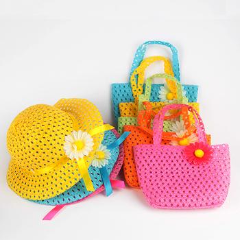 Летнее солнце шляпа девушки дети пляж головные уборы цветок соломенная шляпка Cap сумка сумка костюм бесплатная доставка