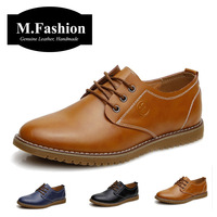 Big size 2014 fashion men's genuine leather shoes formal dress oxfords for men casual sneakers brand new flats urban shoes