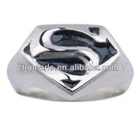 Free Shipping! 3pcs Black Enamel Stainless Steel Superman Ring MER146