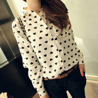 2014 Spring New Arrivals Fashion Vintage Women's Love Hearts Printed Long-sleeve Chiffon Loose Blouses(S,M,L),Free Shipping