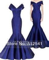 2014 Newest Formal Evening Dresses Mermaid Off Shoulder Satin Ruffle Brand Designe Gowns yk8R340