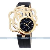 Luxury Elegant Fashion Golden Flower Black Leather band women quartz women dress watches for free shipping