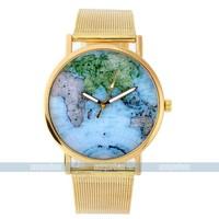 Globe World Map Fashion Leather Alloy Ladies Quartz women watches Golden for free shipping