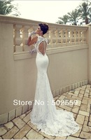 Free shipping LC052 lace mermaid wedding dress