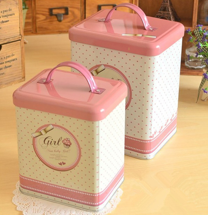 Beautiful pink new baby girl style Large Small two sizes Cany Coffee storage tin boxes carry metal tin boxes with lid(China (Mainland))