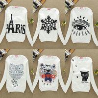 New fashion warm long sleeve o neck white cartoon sweatshirt hot-selling sweatshirts women hoodies