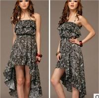 2013 summer bohemia print ruffle irregular bottom expansion tube top dress expansion bottom one-piece dress female