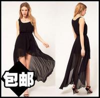 Spring and summer irregular sweep low-high bohemia midguts dovetail skirt chiffon one-piece dress