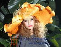 Free EMS Shipping Elegant Formal Women Hats Big Brim Big Hat Wave Brim Exaggerated Women Fashion Show Custome Hat Gold Hat