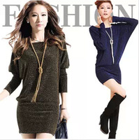 2014 New Batwing Sleeve Dress Women's Pullover Sexy Sweaters Dresses Slim Hip Slim Long Sleeve Basic Shirt Plus Size One-piece