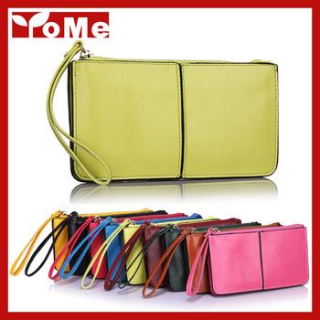 est 2014 Korea Fashion Women Candy Colors Wristlet Oil Wax Genuine Leather Day Clutches ...