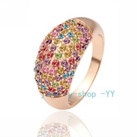 free shipping Accessories plate 18K rose gold full colorful gem popular wide   female jewelry _R053