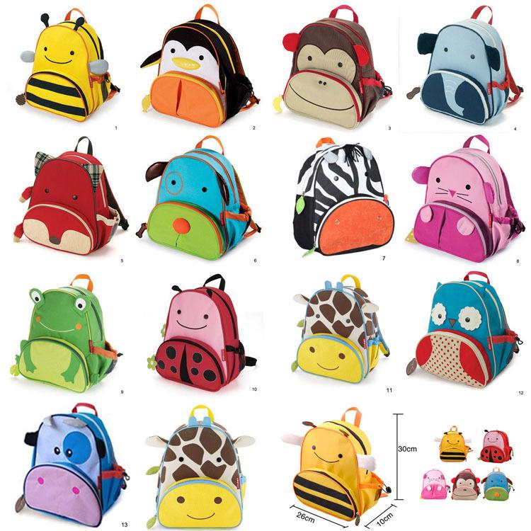 Nouveau sac d'école des enfants animaux de dessin animé toile sac à ...