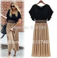Free shipping Fashion Plus Size One-piece Dress Women's slim waist Chiffon one-piece Long dress M,L,XL,XXL,XXXL,XXXXL