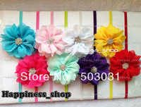 Hair accessories 20pcs/lot 3inch 10color Shabby Chiffon Flowers Crystal Button Hair bows Skinny Elastic headband for kids