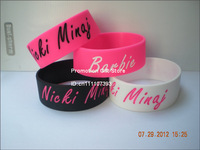 "Nicki Minaj Wristband, Silicon Bracelet, 1"" Wide Band, Adult Size, 4Colours, 50PCS/Lot, Free Shipping"