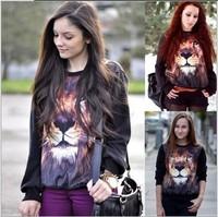 3D Lion pattern animal personality trend fleece loose woman New 2014 Women's HoodiesPullover Sweatshirt Freeshipping