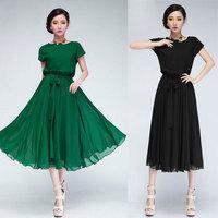 Plus Size Maxi Dresses 2014 New Summer Fashion Women Bohemian Vintage Dress Chiffon Black and Green Sexy vestidos