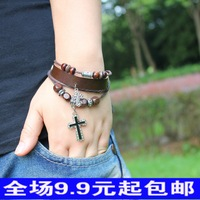 Fashion vintage accessories cross beaded bracelet leather bracelet knitted bracelet accessories