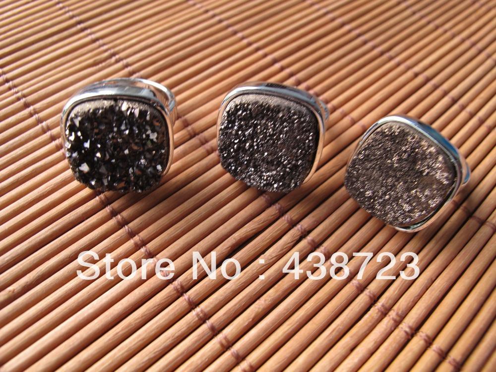 High Quality Agate Quartz Druzy Ring Gem stone Druzy finger Ring 3pcs/lot(China (Mainland))