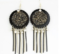 Free Shipping For Min.Order $10(mixed order).European and American fashion Bohemia ethnic wind Aleck beads tassel Earrings