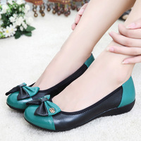Free Shipping 2014 Spring And Autumn PU Leather Ultrasoft Comfortable Women Genuine Leather Flat Shoes 1047