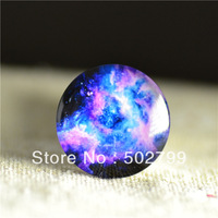 Free shipping 10pcs 18mm Charm colorful Galaxy Pattern Round Glass Dome Cabochon Flat Back Embellishments for fashion Jewelry
