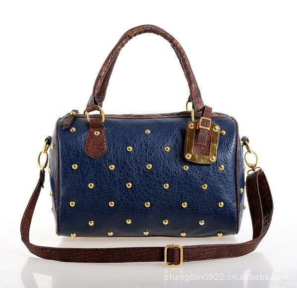 2014 New Arrival Fashion Vintage Rivet Women Leather Handbag Casual Shoulder Bags Stylish Messenger Bag Free Shipping(China (Mainland))