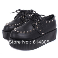 Rivets plate Black Womens shoes Harajuku Female Flats Platform Shoes Creepers Flats Shoes Suede PU Fashion Ankle Boots