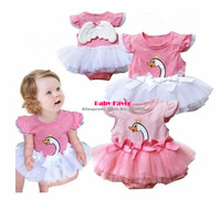 Free Shipping 1pc Infant Newborn Toddlers Baby Girl Swan Tutu Angel Wings Party Bodysuit Skirt Clothes Costume Pink 0-12 Months