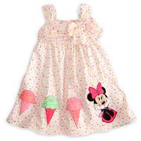 2014 spring New arrival  hot girls cartoon dress cute baby girl's  dress  Minnie's ice cream color dot dress