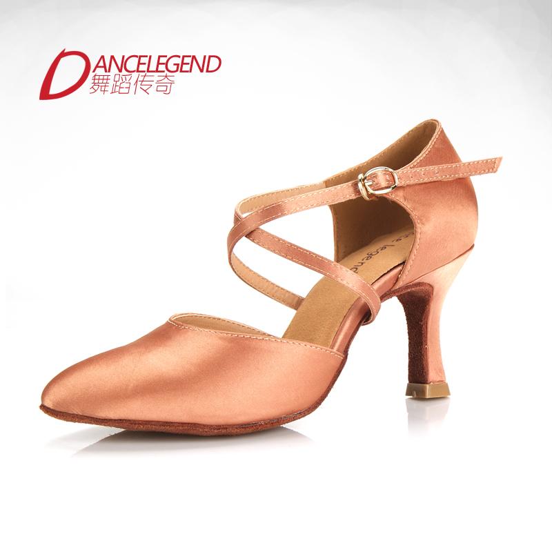 Hot sale top quality women ballroom dancing shoe silk satin upper closed toe 3inches heel tan and black color women's latin shoe(China (Mainland))
