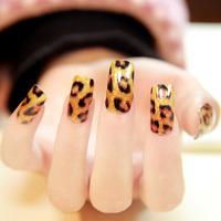 $2 New 12 designs chosen 16pcs x1 pack nails art stickers foils patch tips wraps DIY decorations Sexy leopard print wholesale