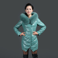 Genuine leather down coat female sheepskin leather clothing medium-long slim fox fur tie cap down leather clothing