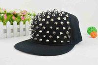 high quality Bigbang personality jazz hat snapback cap Men/ Women Spike Studs Rivet Cap Hat Punk style Rock Hiphop For Pick