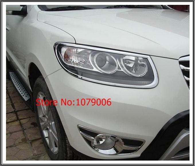 07 08 09 10 11 12 Hyundai Santa Fe Chrome Front Headlight Head Light Lamp Cover Trim Trim 2007 2008 2009 2010 2011 2012(China (Mainland))