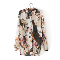 New Arrival Fashion Retro Butterfly Print Lapel Long-sleeved Shirt Ladies' Elegant Designer fashion Blouses BB12022