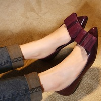 2014 spring new arrival bow pointed toe flat-bottomed single shoes japanned leather shallow mouth low horsehair casual flats