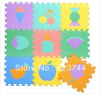 Free shipping-High quatliy 9pcs  EVA multicolour foam puzzle mats baby crawling mat child play mats-fruit