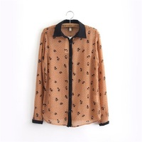 2014 Spring New Arrival Fashion Ladies' Retro Leaves printing Hit color Long sleeve Chiffon Blouses/Shirts Elegant Slim Blouses