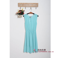 Q335 blue chiffon shirt vest chiffon one-piece dress