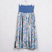 Q237 dual floral print skirt expansion skirt blue small flower tube top bust skirt