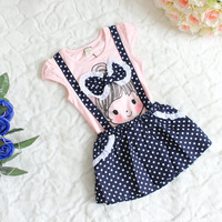 new arrival little girl pattern one-piece dress big bow dot baby girls suspenders dresses 4 pcs/lot