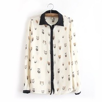 Free shipping Fashion Women Black Collar splice Cartoon Pattern Printed Long-sleeved Cardigan Blouses/Shirts Slim Tops