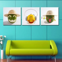 3 Piece  Modern Wall Painting Home Decorative Art Picture Paint on Canvas Prints Funny fruit lovely fruit painting