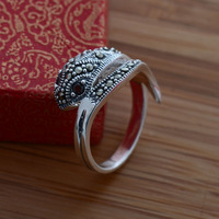 Flame 925 pure silver jewelry vintage classical thai silver mark race fashion Women ring