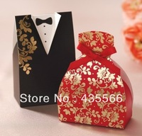 Wholesale 100pcs/lot Bride and Groom box!! Ribbon Wedding Favor Boxes Wedding Candy box